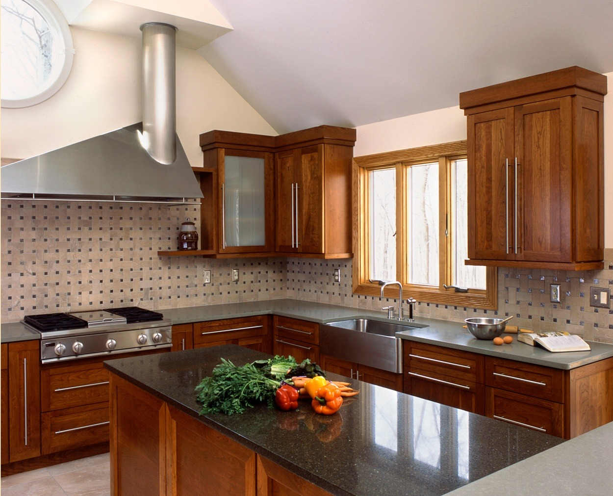 Geometric lines in this Redding kitchen design with cherry cabinets.