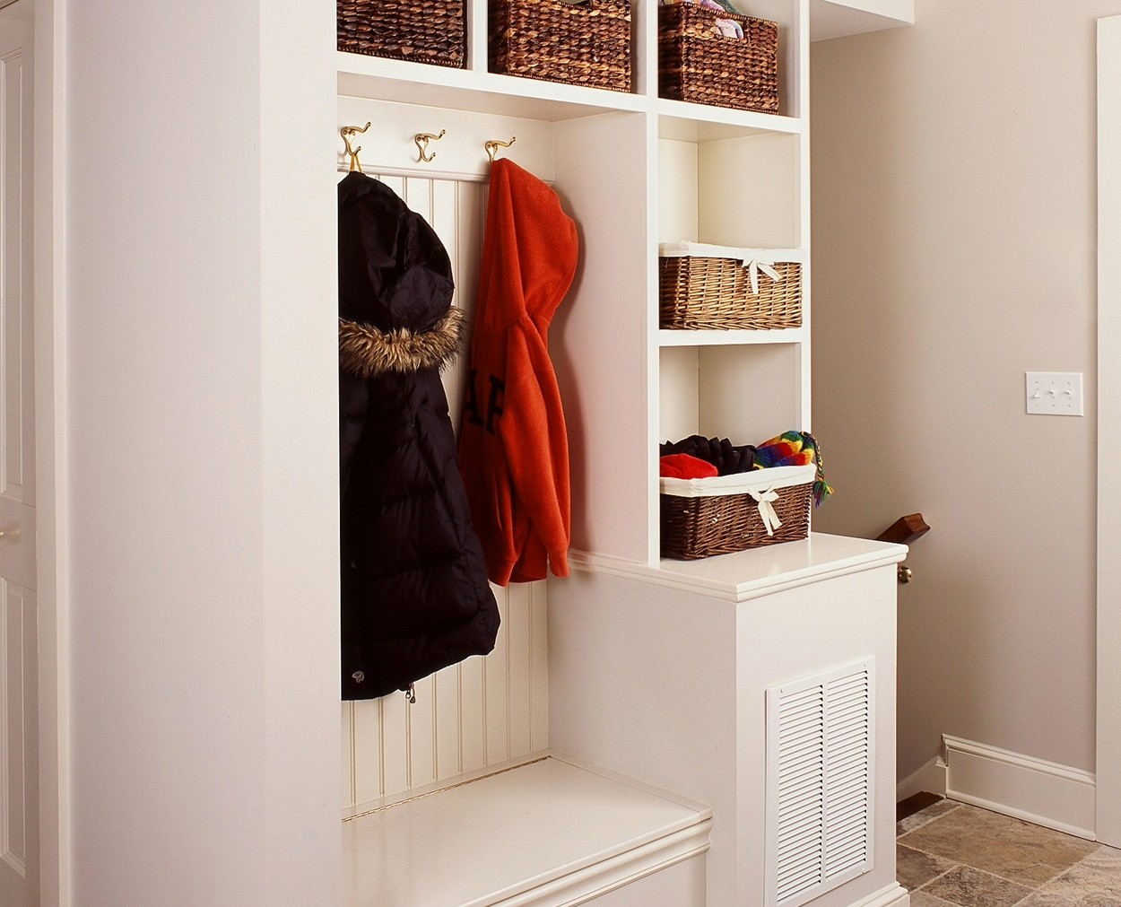 Built in cabinetry provides for a great mudroom.