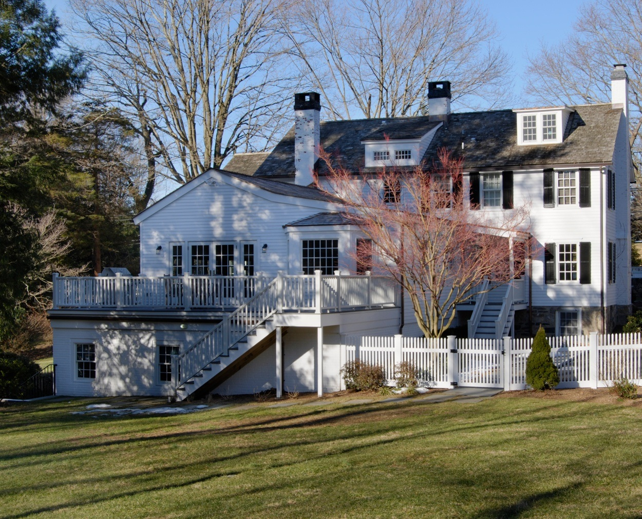 New Canaan 1850s home updated with a kitchen addition and overhaul.